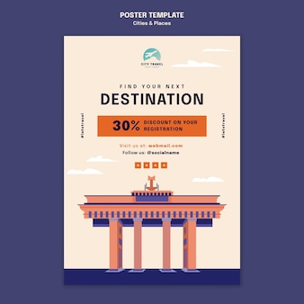 Plantilla de póster de ciudades y lugares
