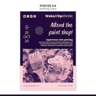 Plantilla de póster de clase de pintura