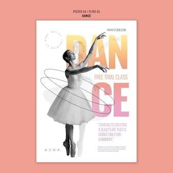 Plantilla de póster de clase de prueba gratuita de baile