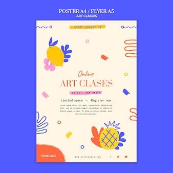 Plantilla de póster de clases de arte