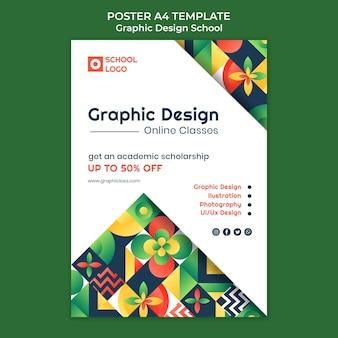 Plantilla de póster de clases en línea de diseño gráfico