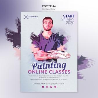 Plantilla de póster de clases en línea de pintura