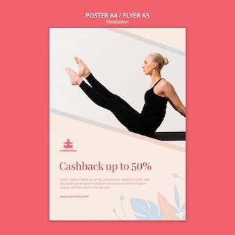 Plantilla de póster de clases de meditación con descuento