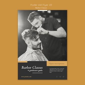 Plantilla de póster para clases de peluquería.