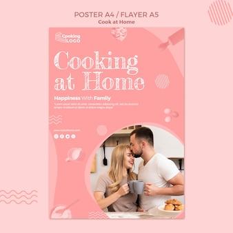 Plantilla de póster con cocina en casa concepto