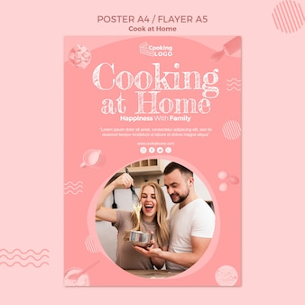 Plantilla de póster con cocina en casa