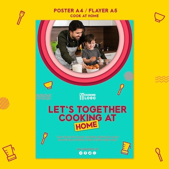 Plantilla de póster para cocinar en casa