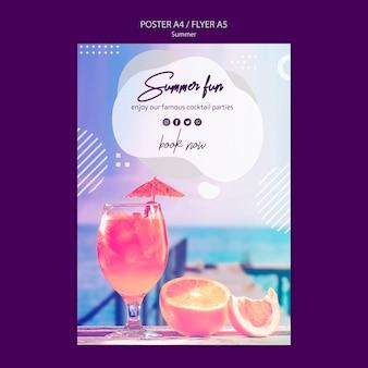 Plantilla de póster de cóctel de verano