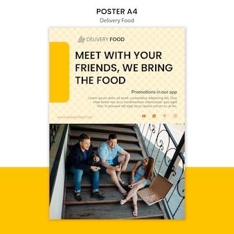 Plantilla de póster de comida a domicilio