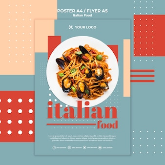 Plantilla de póster de comida italiana