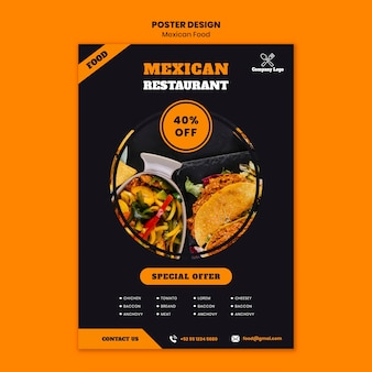 Plantilla de póster de comida mexicana