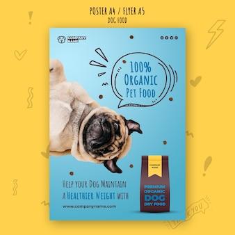 Plantilla de póster de comida de perro saludable