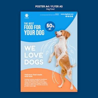 Plantilla de póster de comida para perros