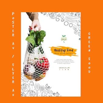 Plantilla de póster de comida saludable creativa con imagen