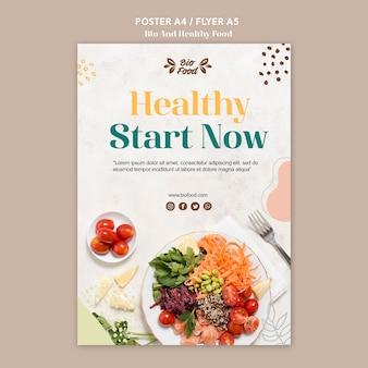 Plantilla de póster con comida saludable