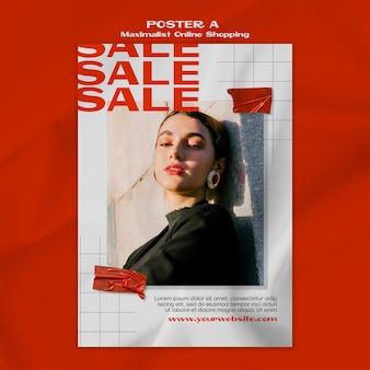 Plantilla de póster de compras en línea maximalista