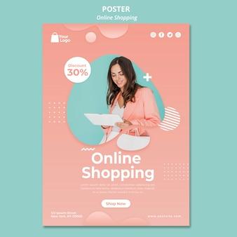 Plantilla de póster con compras en línea