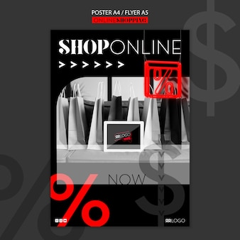 Plantilla de póster de compras de moda en línea