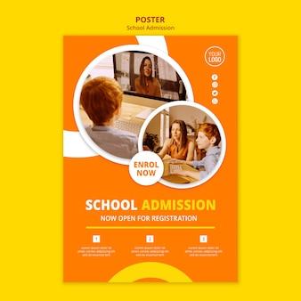 Plantilla de póster de concepto de admisión escolar