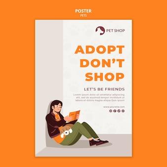 Plantilla de póster de concepto de adopción