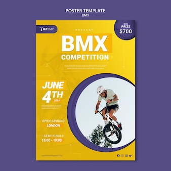Plantilla de póster de concepto de bmx