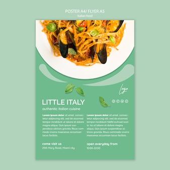 Plantilla de póster con concepto de comida italiana
