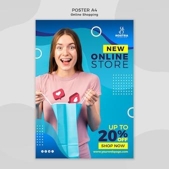 Plantilla de póster de concepto de compras en línea