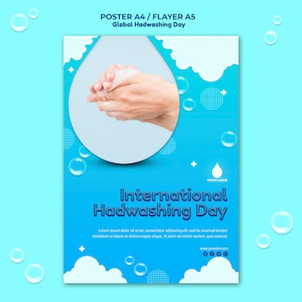 Plantilla de póster del concepto del día mundial del lavado de manos PSD gratuito