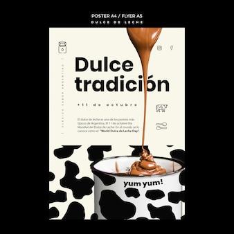 Plantilla de póster de concepto de dulce de leche