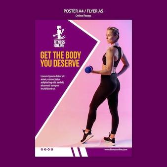Plantilla de póster de concepto de fitness en línea