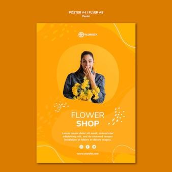 Plantilla de póster de concepto de floristería