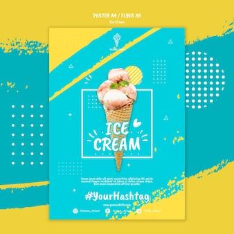Plantilla de póster con concepto de helado