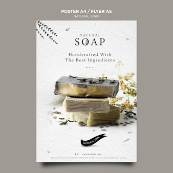 Plantilla de póster de concepto de jabón natural