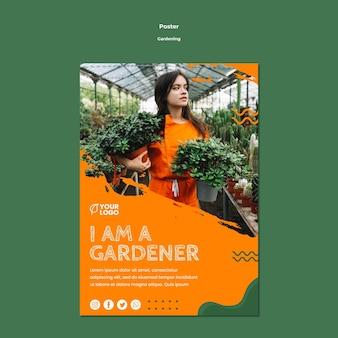 Plantilla de póster de concepto de jardinería
