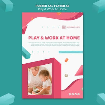 Plantilla de póster de concepto de juego y trabajo en casa
