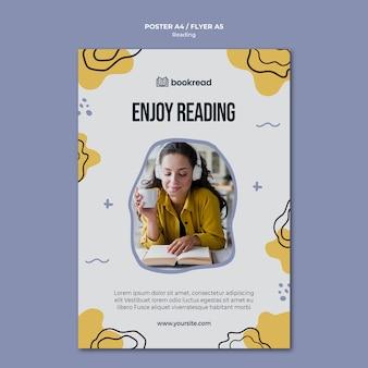 Plantilla de póster de concepto de lectura