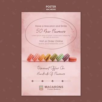 Plantilla de póster de concepto de macarons con sabor