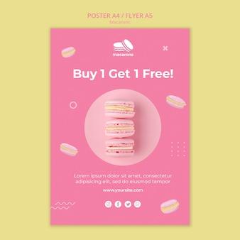 Plantilla de póster con concepto de macarons