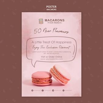 Plantilla de póster de concepto de macarons