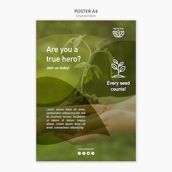 Plantilla de póster con concepto de medio ambiente