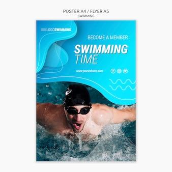 Plantilla de póster con concepto de natación