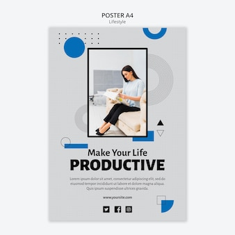 Plantilla de póster de concepto de productividad