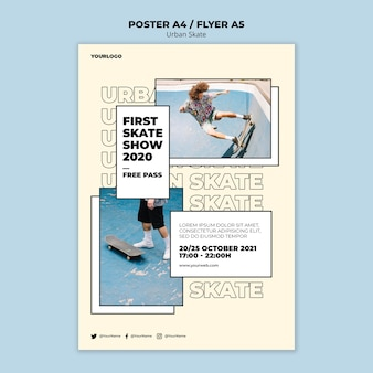 Plantilla de póster de concepto de skate urbano