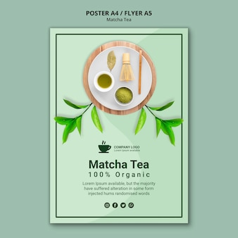 Plantilla de póster para el concepto de té matcha