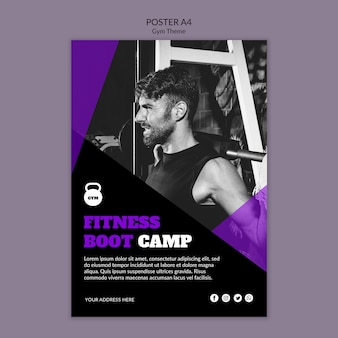 Plantilla de póster de concepto de tema de gimnasio