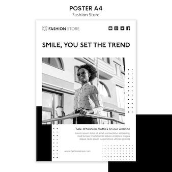 Plantilla de póster de concepto de tienda de moda