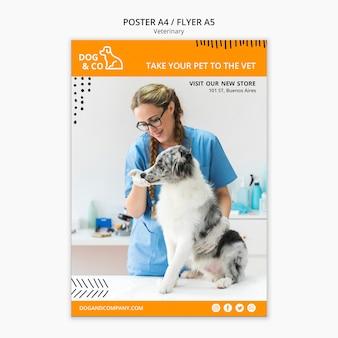 Plantilla de póster con concepto veterinario