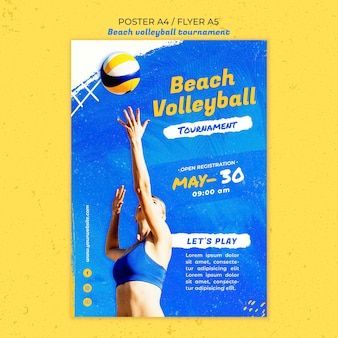 Plantilla de póster de concepto de voleibol de playa