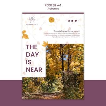 Plantilla de póster para concierto de otoño con música