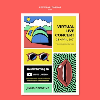 Plantilla de póster de concierto en vivo virtual